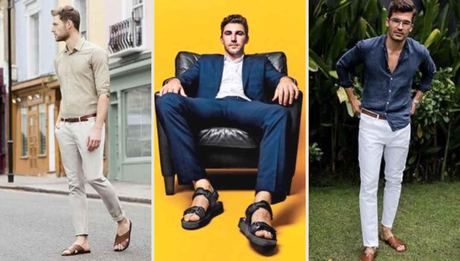 Muške sandale ili papuče uz elegantne pantalone