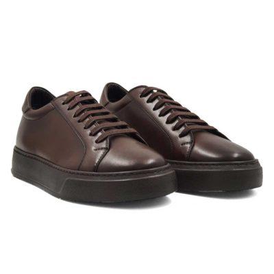 Elegantne muške patike cipele Seven Holes izradjene od vrhunske Nappa kože, bojene u braon boji.
